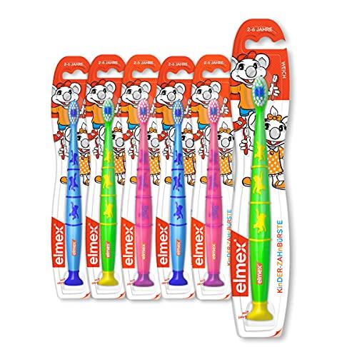 elmex Zahnbürste Kinder 2-6 Jahre, weich 6er Pack - Handzahnbürste mit Saugnapf, Pack beinhaltet...