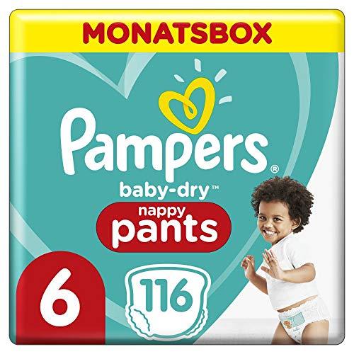 Pampers Baby-Dry Pants, Gr. 6, 15+kg, Monatsbox (1 x 116 Höschenwindeln), Einfaches An- und Ausziehen,...