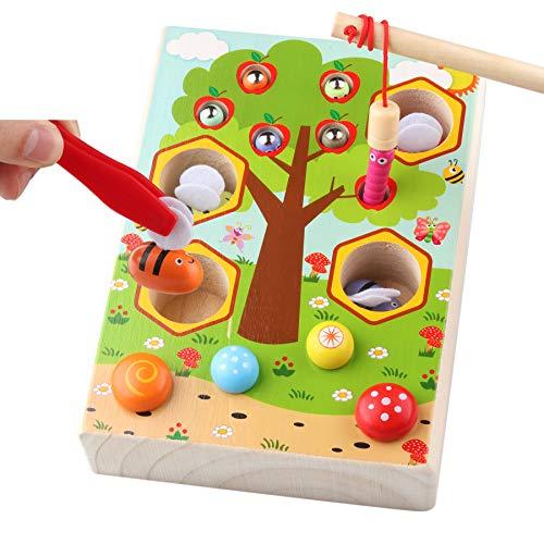 Sunarrive Montessori Motorik Spielzeug Angelspiel - Holzspielzeug Lernspiele - Motorikspielzeug -...