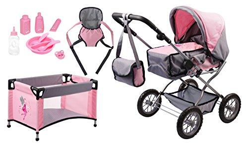 Bayer Design 1500815 1500815-Puppenwagen Grande Set mit Bett und Zubehör Puppen, 46 cm, grau/rosa
