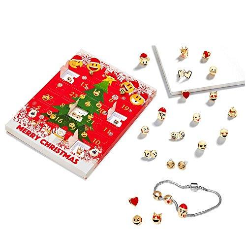 Yokeyoke Emoji-Schmuck, Adventskalender, 15 Charm-Emoji-Armbänder + 8 x atemberaubende Ohrringe, Geschenk,...