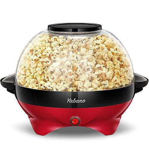 Yabano Popcornmaschine für Zuhause, Popcorn Maker Machine mit Zucker & Öl, Abnehmbare Heizfläche, 5L...