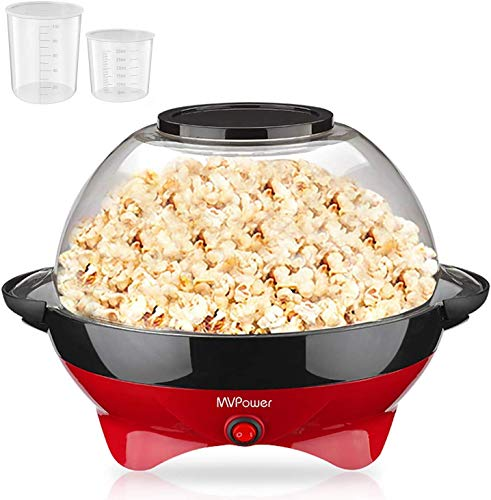 MVPower Popcornmaschine, 800W Popcorn Maker, Popcornmaschine für Zuhause, Popcorn Maschinen, Abnehmbares...