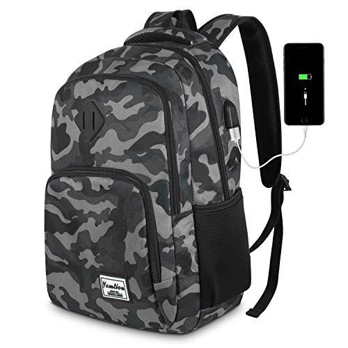 YAMTION Herren Rucksack,Schulrucksack Jungen Teenager mit mit USB-Ladeanschluss für Reisen Camping Schule...