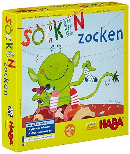 Haba 4465 - Socken zocken, schnelles Suchspiel für 2-6 Spieler von 4-99 Jahren, blitzschnelles Reaktionsspiel...