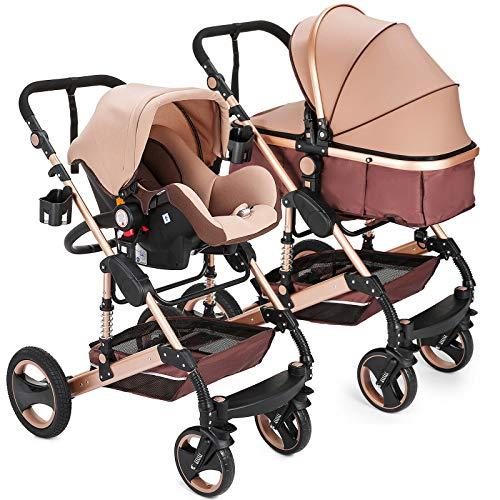 """Kinderwagen """"Florida"""", 3 in 1 Kombikinderwagen Megaset 8 teilig inkl. Babyschale, Babywanne, Sportwagen..."""
