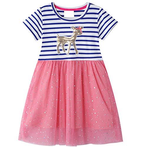 Kleid Pferd Mädchen Pailletten Prinzesin Party Rosa Rot Sommer Kurzarm Blau Streifen Tutu Spitzenrock Kleid...