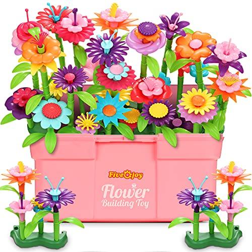 Fivejoy Blumengarten Spielzeug Für Mädchen 134PCS, DIY Bouquet Set Mit Rosa Box Draußen & Drinnen Spielzeug...