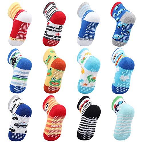OKPOW Baby Socken 12 Paar Baumwolle Socken Rutschfeste Socken Bunte Socken für 0-5 Jahre alt Kleine Kinder...