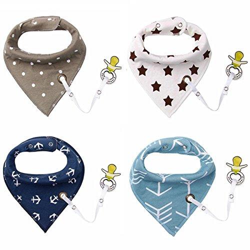 4er Baby Dreieckstuch Lätzchen Spucktuch Halstücher mit Schnullerkette und Verstellbaren Druckknöpfen...