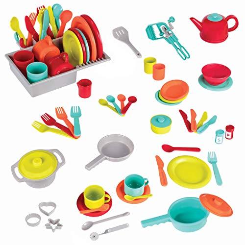 Battat - Deluxe Küchenset – Kochset Zubehör Spielzeug inkl. Teller, Tassen, Töpfe, Pfanne, Besteck und...