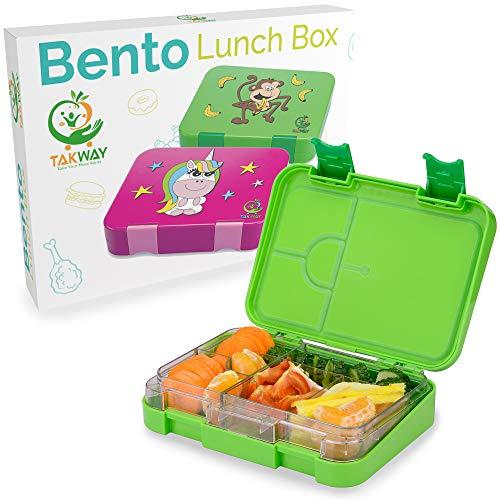TAKWAY Kinder Brotdose mit Fächern (variabel 4 oder 6) | Lustiges Affen Motiv | robuste Bento Box |...