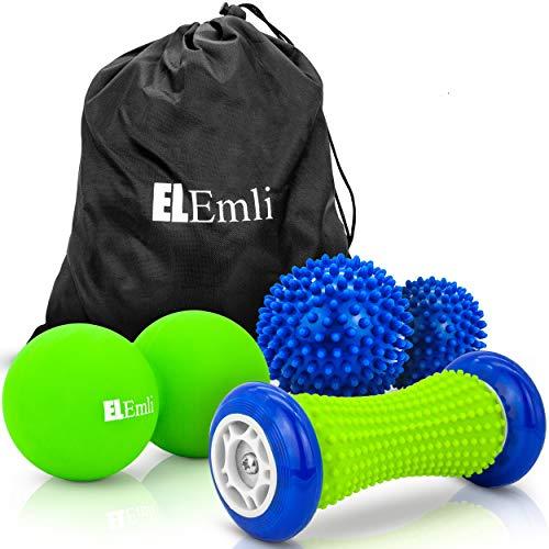 Original Igelball Massage Set | 4er Set | Faszienball | 2x Massageball mit Noppen | Fußmassage Roller für...