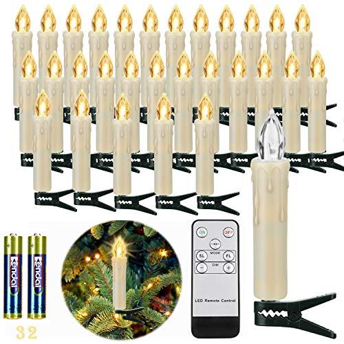 30er LED Weihnachtskerzen Kabellos, Warmweiß Christbaumkerzen Kabellos, LED Kerzen Weihnachtsbaum mit...