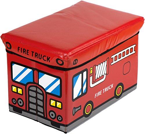 Bieco Aufbewahrungsbox mit Deckel Kinder Feuerwehr, faltbar, Sitzhocker mit Sitzgelegenheit, und Polsterung,...