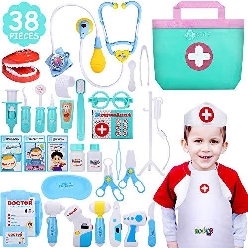 NextX Arzt Medizinisches Spielzeug Kinder 35 Teile Arztkoffer Doktor Spielset Rollenspiel Geschenke für...