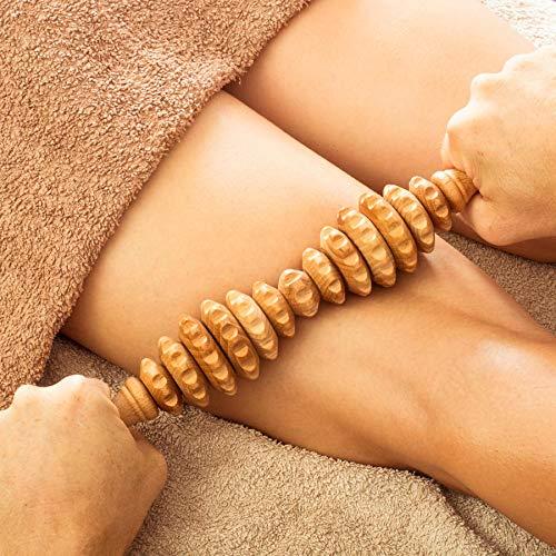 Tuuli Accessories Anti Cellulite Massage Massagegerät Massageroller Roller mit Griff Maderotherapie aus Holz...