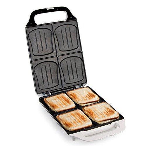 XXL Familien-Sandwich-Toaster, 4er Dom-Sandwichmaker mit Muschelform, Backampel für ideale Backergebnisse