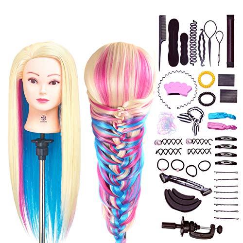 Trainingsköpfe für Friseure, SIGHTLING 66cm Übungskopf 100% Synthetischem Haar Friseurkopf Frisierkopf...