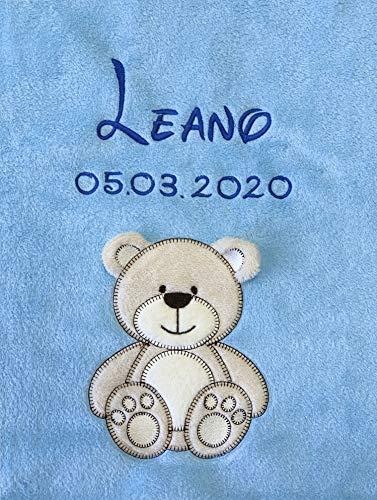 Babydecke bestickt mit Name und Geburtsdatum/kuschelig weich / 1A Qualität nach Ökotex 100 Standard -...