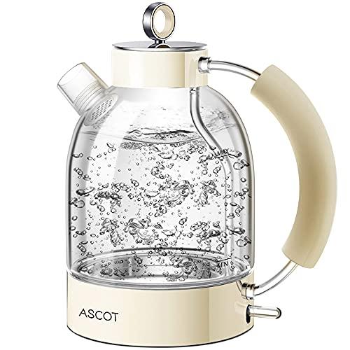 Wasserkocher Glas, ASCOT 2200 W, 1,6 liter, Elektrischer Wasserkessel, Edelstahl, Retro Design, kabelloser...