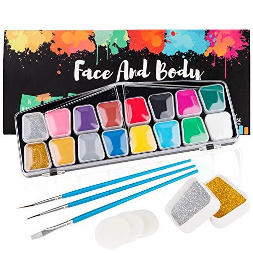Kinderschminke Set, Coquimbo 16 Schminkfarben Face Paint, 2 Schachteln Glitzer, 3 Berufs Pinsel, 2 Schwämme,...
