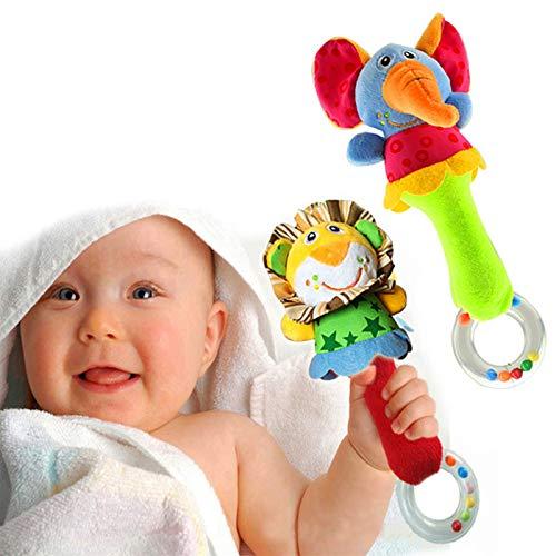 HUADADA Greifling zum Rasseln,Cartoon Tier Rassel Kleinkind Spielzeug weiche Flock Stoff mit Klingel Glocke....