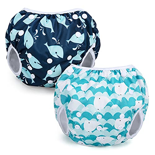 Teamoy Wiederverwendbare Schwimmwindeln(Packung mit 2), Badeanzug Windeln Waschbare Windeln für Babys &...