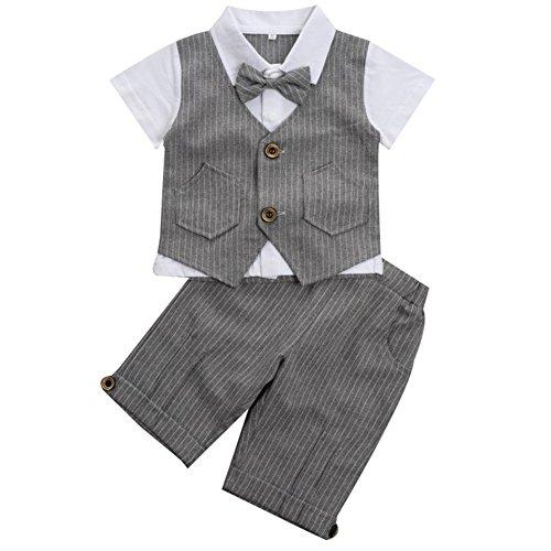 Baby Jungen 2-Teiliges Strampler Smoking Gentleman Anzug Kurzarm Streifen Outfits Sommer Kleidung Jumpsuit...