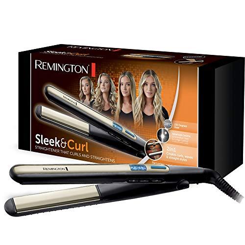 Remington Glätteisen Sleek & Curl (abgerundetes Design -ideal zum Glätten & Stylen von Locken und Wellen,...