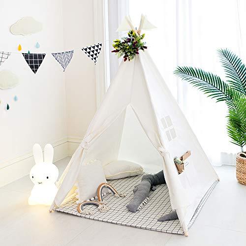 TreeBud Kinder Tipi Zelt, klassisches indisches Spielzelt für Kinder, faltbares Spielhaus für drinnen oder...