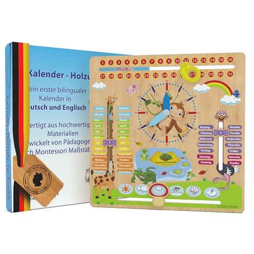 WoodyWood® Kalenderuhr für Kinder - Lernuhr aus Holz, zweisprachig, 30 X 30 cm - Montessori Jahresuhr zum...