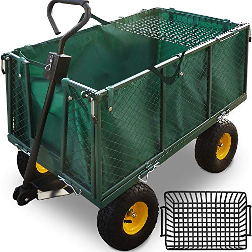Deuba Bollerwagen herausnehmbare Plane bis 550kg belastbar Handwagen Gartenkarre Gartenwagen Transportwagen...