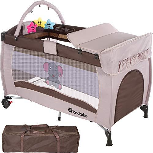 TecTake Kinder Reisebett höhenverstellbar mit Babyeinlage - diverse Farben - (Braun-Coffee | Nr. 402203)