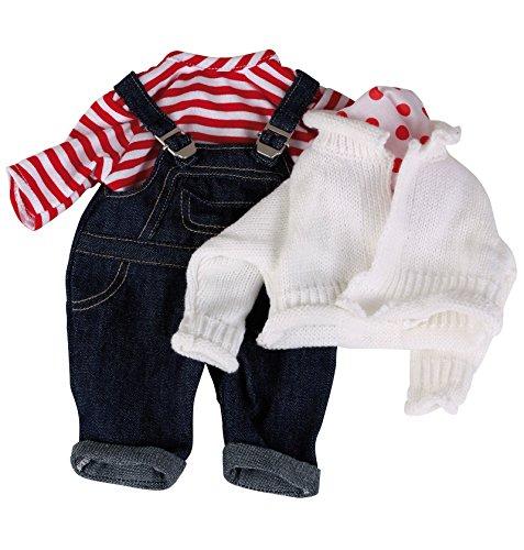 Götz 3401998 Babypuppen Latzhosen Set - Matrose Puppenbekleidung Gr. S - 4-teiliges Bekleidungs- und...