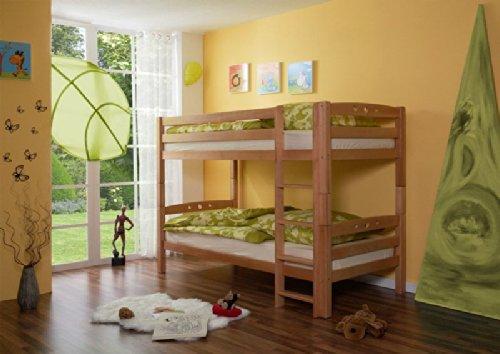 Pharao24 Etagenhochbett Kinderbett Buche Massiv 90 x 200 TINO