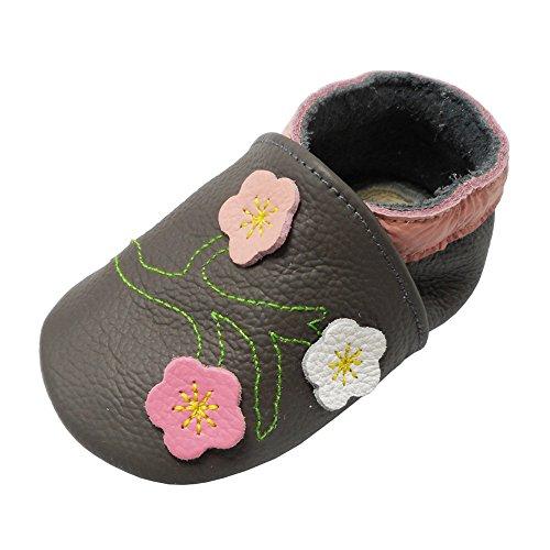 YALION Baby Mädchen Weiches Leder Lederpuschen Kleinkinder Krabbelschuhe mit Süßen Blumen Dunkelgrau,EU...