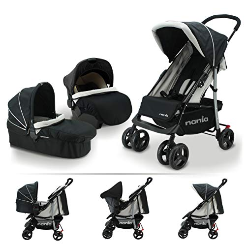 Nania Trio Set 3 in 1 Kinderwagen bis 25 kg + Babyschale + Babywanne mit Matratze ab Geburt, Buggy mit...