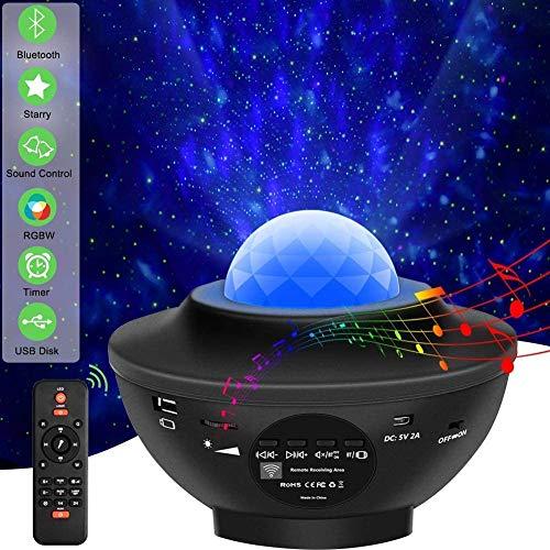 Sternenhimmel Projektor Stern Effekt Lampe Erwachsene Ozeanwelleneffekt Nachtlicht Kinder, mit Bluetooth...