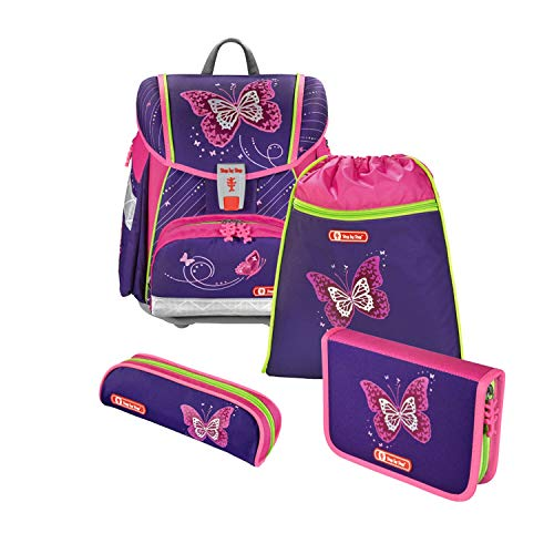 "Step by Step Schulranzen-Set Touch 2 ""Shiny Butterfly"" 4-teilig, lila-rosa, Schmetterling-Design,..."