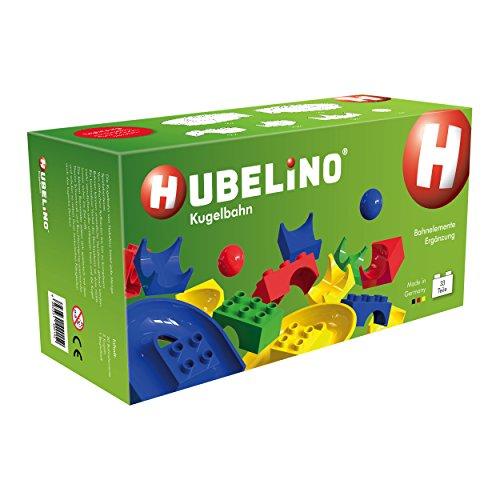 Hubelino 420152 - Kugelbahn - Bahnelemente Ergänzungs Set - ab 4 Jahre (100% kompatibel mit Duplo) - 33 Teile