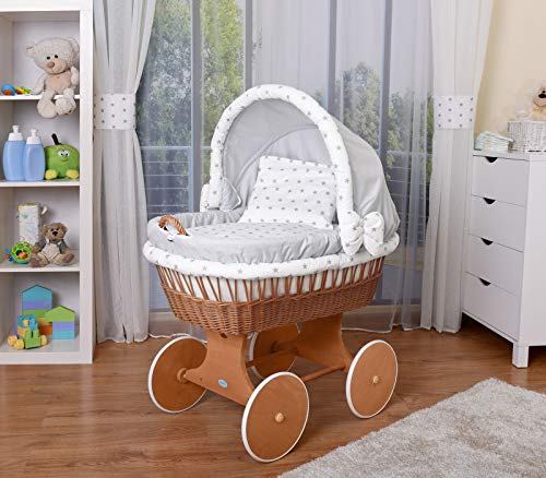 WALDIN Baby Stubenwagen-Set mit Ausstattung,XXL,Bollerwagen,komplett,25 Modelle wählbar,Gestell/Räder...