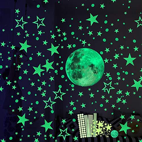 Ahsado Wandsticker selbstklebend Leuchtsticker Wandtattoo,435 Leuchtsterne/Leuchtpunkte für deinen...