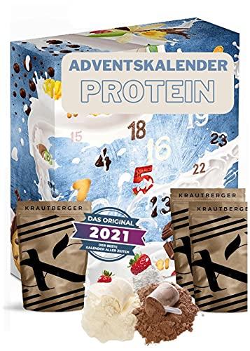 Protein Adventskalender 2021 I 24 x 20g verschiedene Proteinpulver I Geschenkidee für Fitnessbegeisterte I...