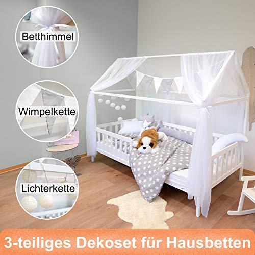 Alcube Hausbett-Deko, mit Baldachin, Lichterkette und Wimpel in grau-weiß, Himmel aus 2 riesigen Stoffbahnen...