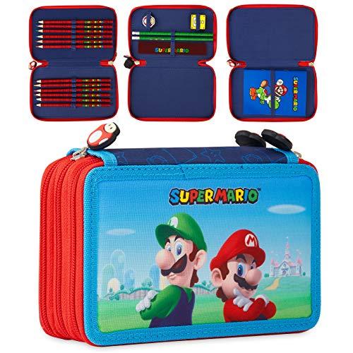 Super Mario Federtasche Kinder, Federmäppchen mit Mario & Luigi Aufdruck, Pencil Case Große Kapazität, Etui...