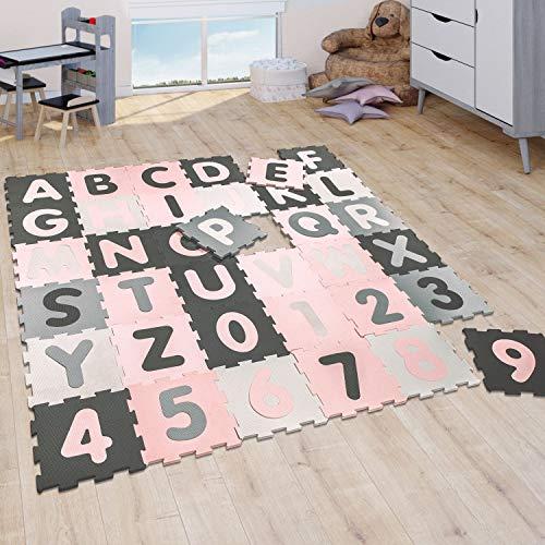Puzzlematte Spielmatte Schaumstoffmatte Baby Kinder Matte Mädchen Zahlen Buchstaben Pastell Rosa 36...