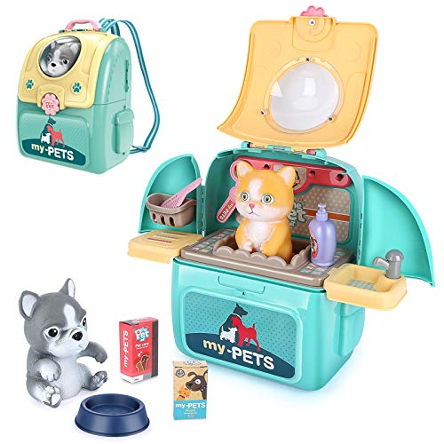 LBLA Tierarzt Rollenspiel Arztkoffer Lernspielzeug mit Rucksack Spielzeug für Kinder Junge Mädchen ab 3 4 5...
