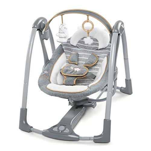 Ingenuity, Bella Teddy zusammenklappbare und tragbare Babyschaukel mit 5 Schaukelgeschwindigkeiten, 8...