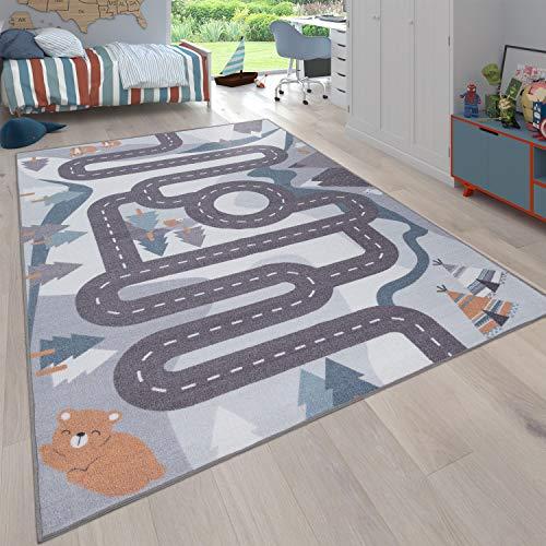 Paco Home Kinder-Teppich, Spiel-Teppich Für Kinderzimmer Straßen-Design Mit Tieren Beige, Grösse:120x160 cm